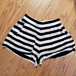 H&M Black & White Striped Super Soft Shorts Sz 4